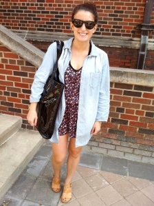 SMU senior Lisa Collins walking to class.